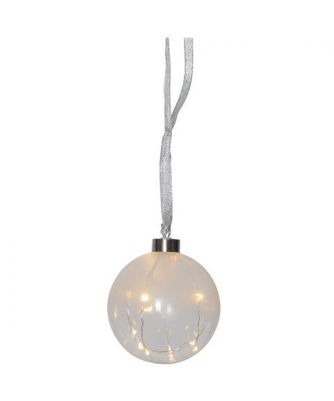 Glow glasskule diameter 10 cm, for batteri, med timer, duggdråper LED (x15), Frostet