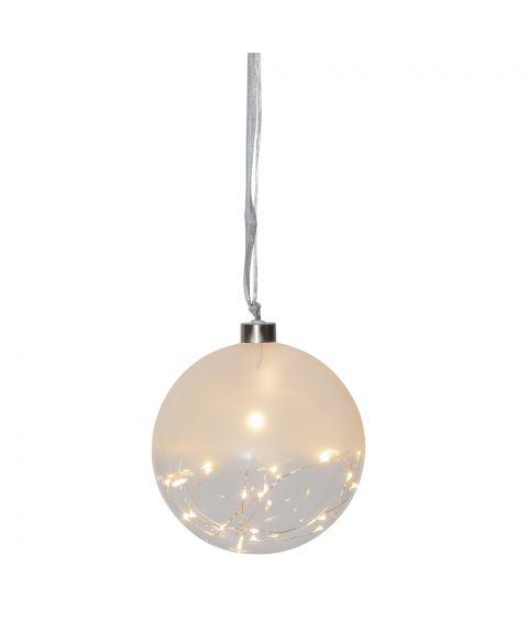 Glow glasskule diameter 15 cm, duggdråper LED (x30), Frostet/Klar