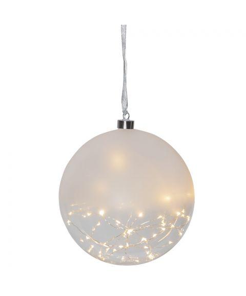 Glow glasskule diameter 20 cm, duggdråper LED (x50), Frostet/Klar