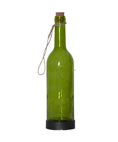 Bottle solcelle flaske, høyde 31 cm, Grønn