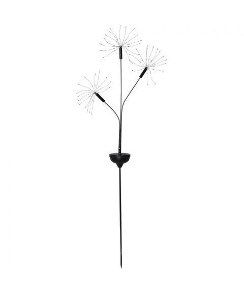 Firework x 3 på pinne, høyde 95 cm, Solcelle, LED (x90), Sort, Varmhvitt lys