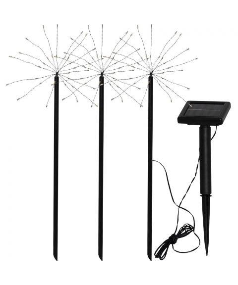 Firework stibelysning, Solcelle, LED (x90), pakke med 3, Varmhvitt lys