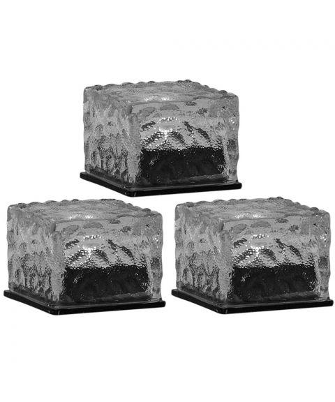 Icecube solcelle dekorlys 3-pk