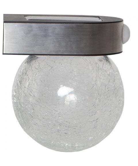 Glory solcelle vegglampe, 5/100lm Bevegelsessensor, Børstet stål / Krakelert glass