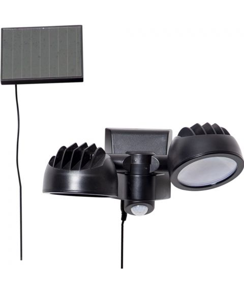 Powerspot solcelle vegglampe 2-lys vridbar 350lm timer/sensor