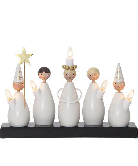 Luciakor lysestake med 5 lys, Hvit