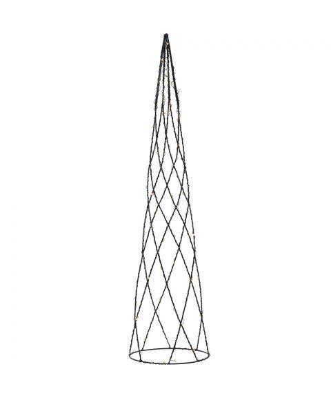 Cone Helix borddekorasjon, høyde 60 cm, LED (x64), for batteri, med timer, Sort