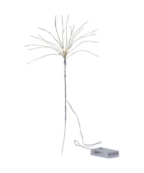 Dekorasjonskvist duggdråper, Kaldhvit LED (x60), med batteri, for timer, Sølv