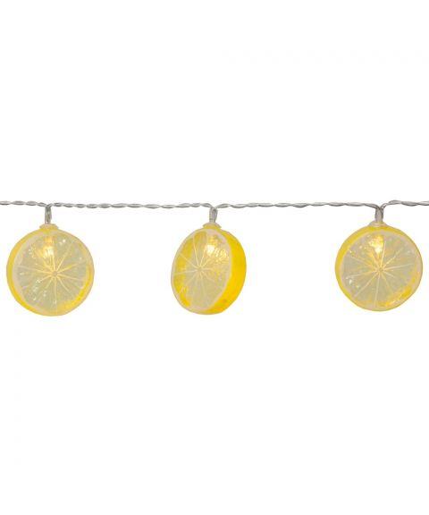 Fruity slynge Sitron, lengde 135 cm, LED (x10), for batteri, med timer