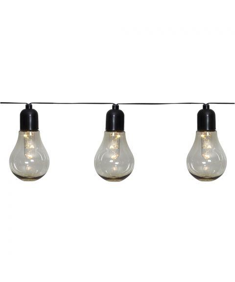 Glow lysslynge, lengde 405 cm, LED (x10) for batteri, med timer, Varmhvitt lys