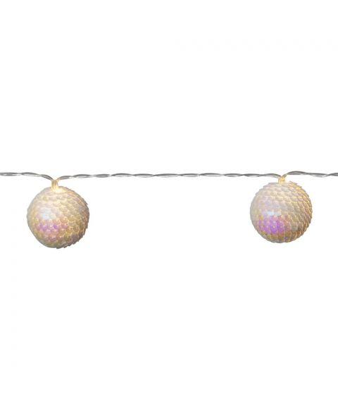 Flake slynge LED (x10), lengde 135 cm, for batteri (3xAA), med timer, Hvit