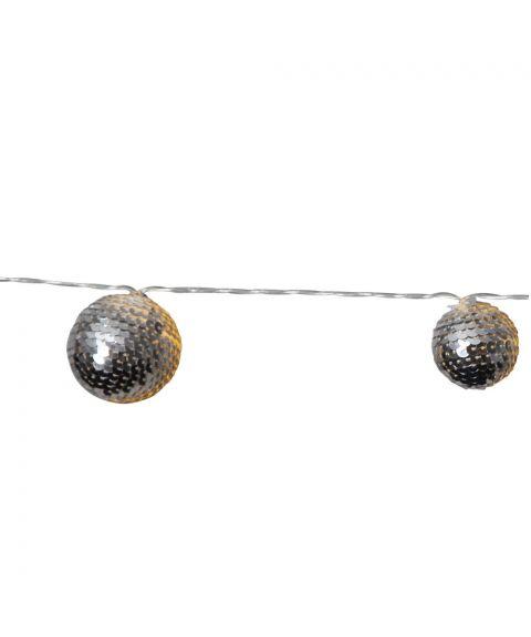 Flake slynge LED (x10), lengde 135 cm, for batteri (3xAA), med timer, Sølv