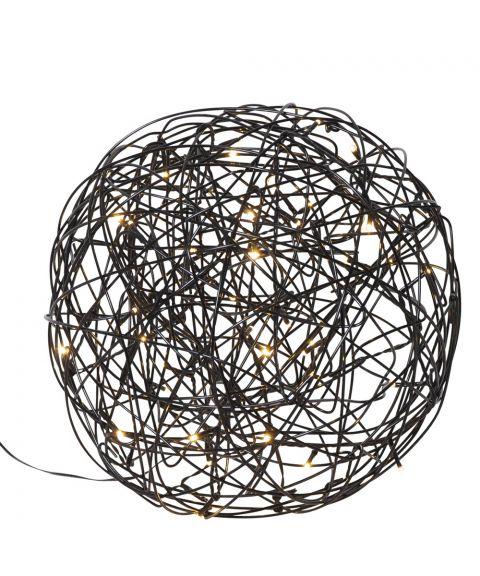 Trassel Ball, dekorlys for inne og ute, diameter 30 cm, Sort