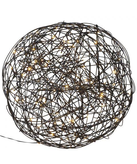 Trassel Ball, dekorlys for inne og ute, diameter 37 cm, Sort