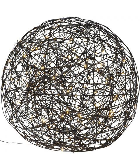 Trassel Ball, dekorlys for inne og ute, diameter 50 cm, Sort