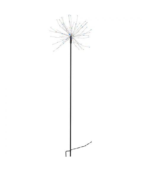 Firework utendørs på pinne, høyde 110 cm, LED (x160), Sort, Flerfarget lys