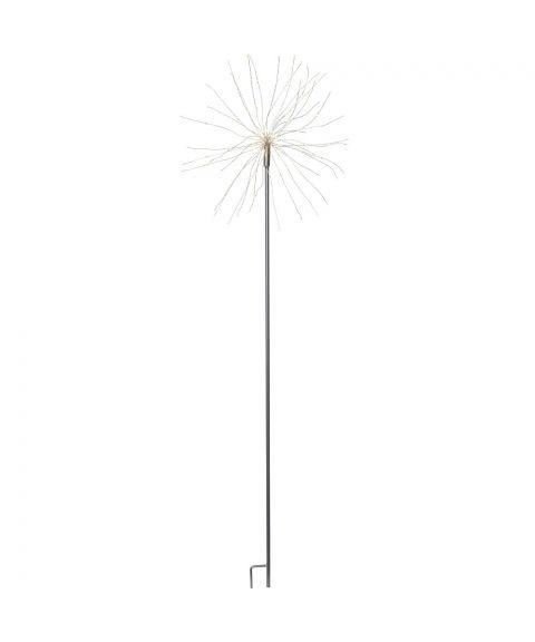 Firework utendørs på pinne, høyde 110 cm, LED (x160), Sølv, Kaldhvitt lys
