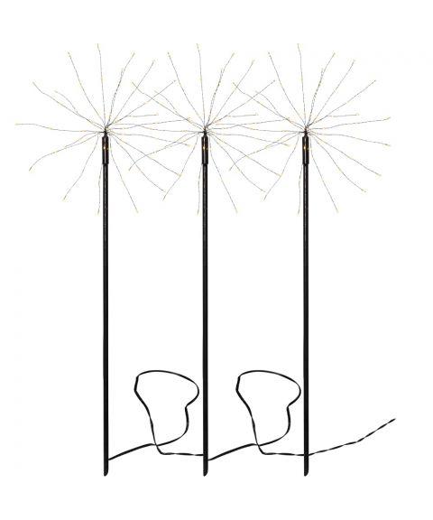 Firework utendørs på 3 pinner, LED (x180), Sort, Varmhvitt lys