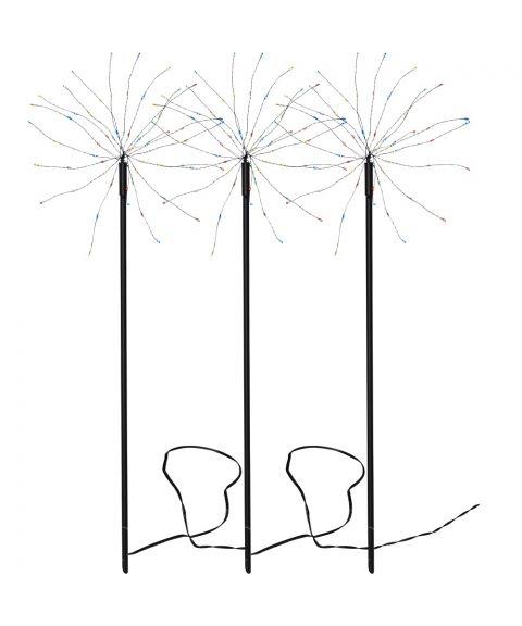 Firework utendørs på 3 pinner, LED (x180), Sort, Flerfarget lys