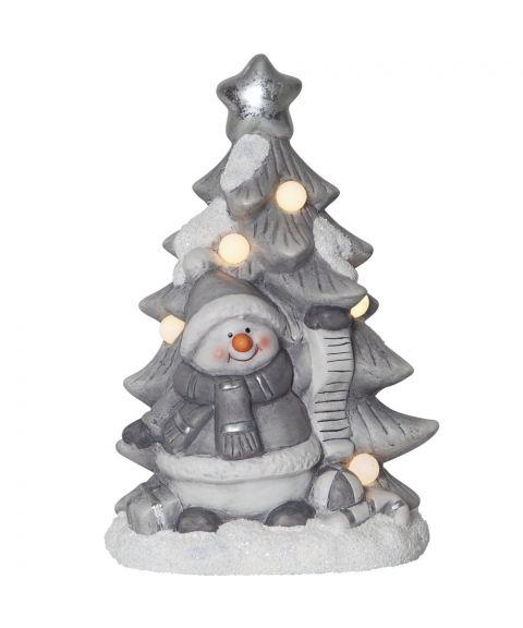 Friends dekorasjon snømann med tre for batteri, høyde 23 cm, Hvit