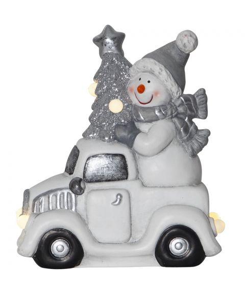 Friends dekorasjon bil med snømann for batteri, høyde 23 cm, Hvit