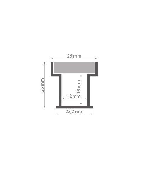Aluminiumsprofil HR-LINE anodisert, 2 meter, Aluminium