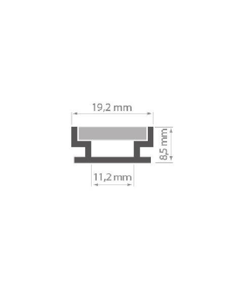 Aluminiumsprofil HR (u/avdekning) anodisert, 2 meter, Aluminium