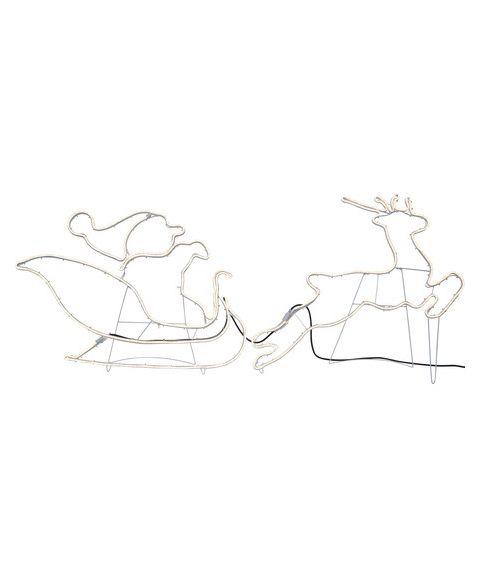 Neoled Silhuett Nisse og Reinsdyr med Slede, bredde 180 cm