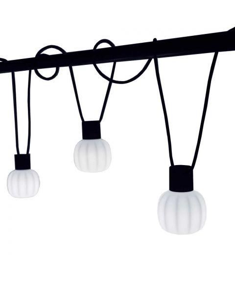 Kiki lyslenke, 5 lyskilder, lengde 10 m, Opalhvit / Sort