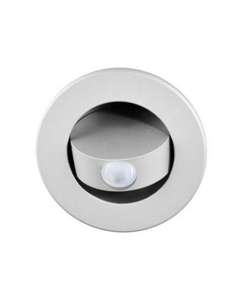 Bedside innfelt vegglampe, 3W LED, Sølvfarget, diameter 10,6 cm