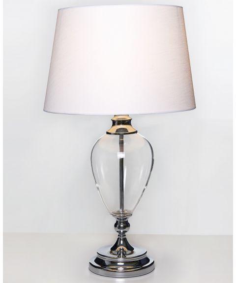 Livia bordlampe (u/skjerm), høyde 60 cm, Krom/Glass