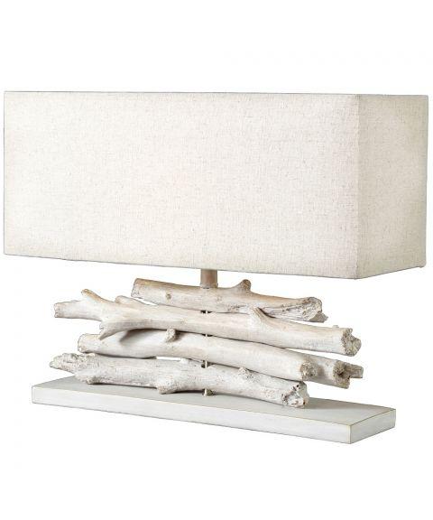 Lom bordlampe med lampeskjerm, høyde 36 cm, Hvitlasert