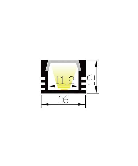 Aluminiumsprofil Lumistar 1612, 2 meter, Sort (RAL9005) / Frostet avdekning