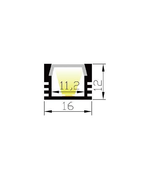 Aluminiumsprofil Lumistar 1612, 2 meter, Aluminium / Frostet avdekning