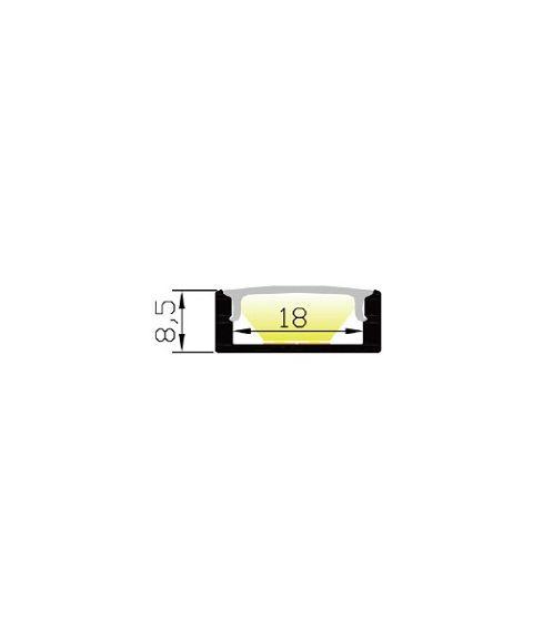 Aluminiumsprofil Lumistar 2208, 2 meter, Hvit (RAL9010) / Frostet avdekning