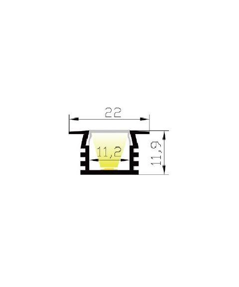 Aluminiumsprofil Lumistar 2212P, 2 meter, Aluminium / Frostet avdekning