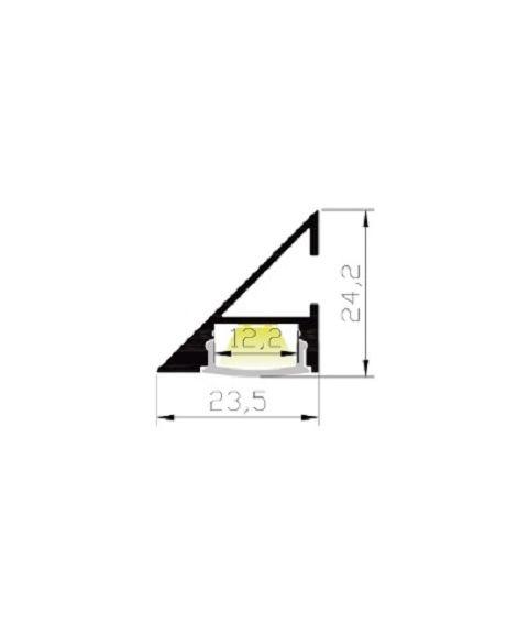 Aluminiumsprofil Lumistar 2323, 2 meter, Aluminium / Frostet avdekning
