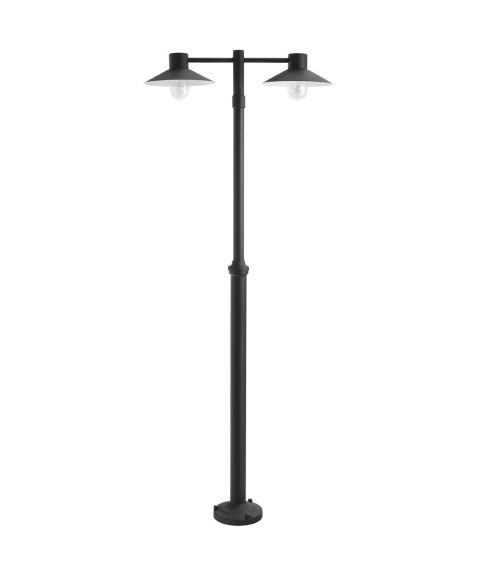 Lund 275 lyktestolpe, høyde 170-230 cm, 2 lyktehoder