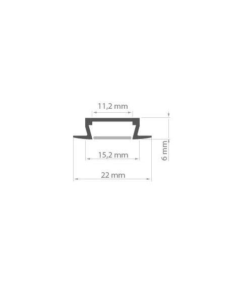 Aluminiumsprofil Micro-K (u/avdekning), Aluminium, 2 meter