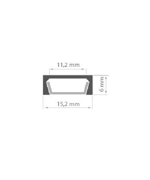 Aluminiumsprofil Micro (u/avdekning), anodisert, 2 meter, Sort (RAL9005)