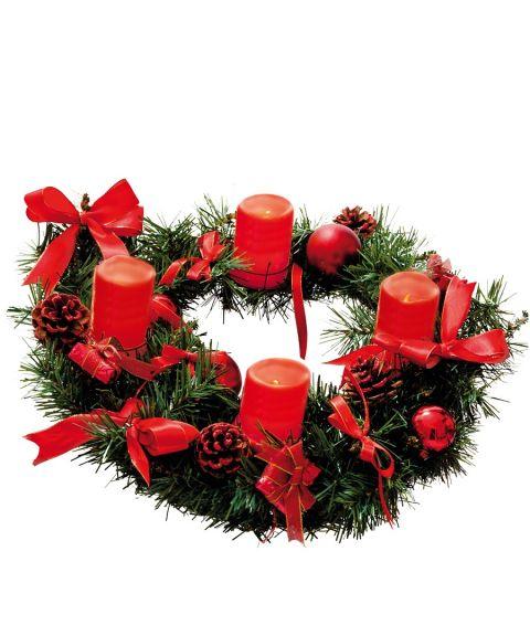 Krans Deco Advent, med 4 batteridrevne vokslys, Grønn med rød pynt (restlager)