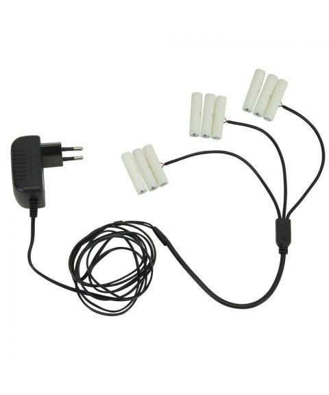 Batterieliminator for 3xAAA med 3 utganger