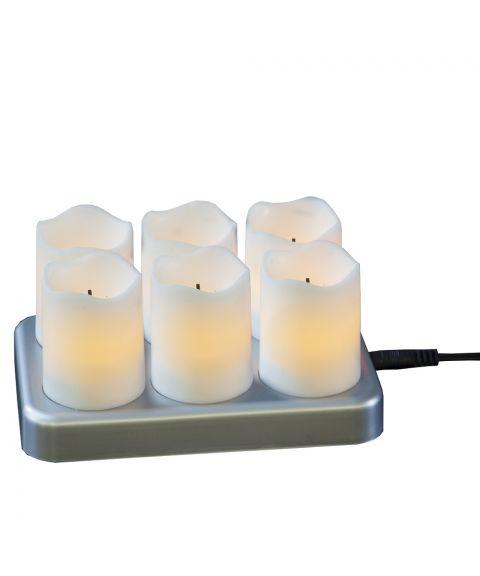 Chargeme små kubbelys (x6) med ladestasjon, LED, Hvit