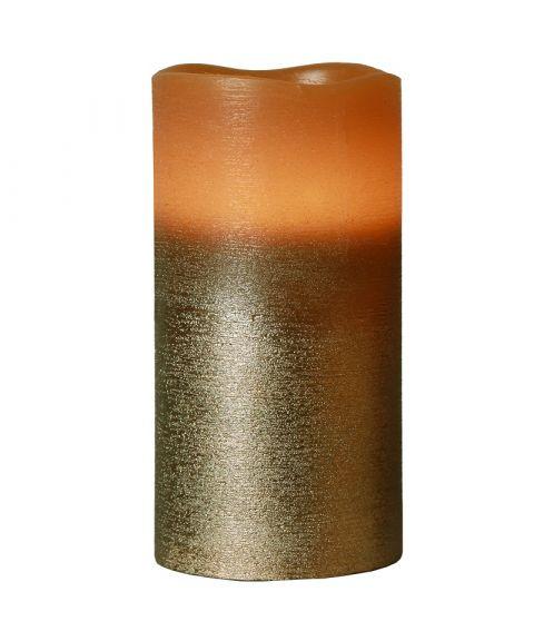 Cooper kubbelys i voks 15 cm, for batteri, med timer, Brun
