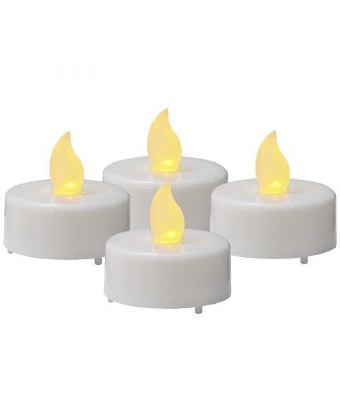 LED telys, høyde 4 cm, Hvit, pakke med 4