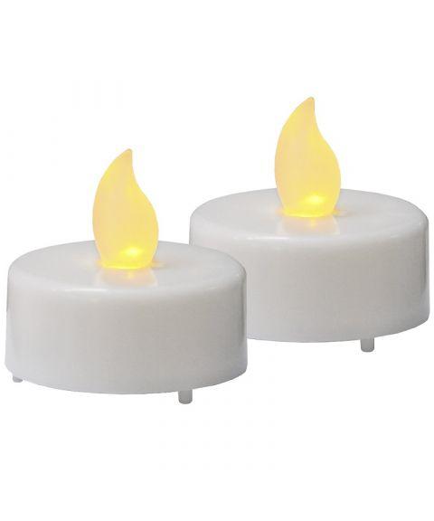 LED telys, høyde 4 cm, Hvit, pakke med 2