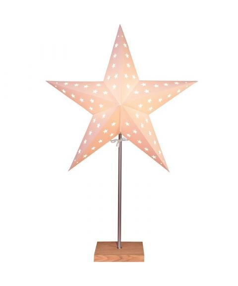 Leo papirstjerne på fot, høyde 65 cm, Eik / Hvit