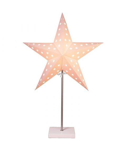 Leo papirstjerne på fot, høyde 65 cm, Hvit