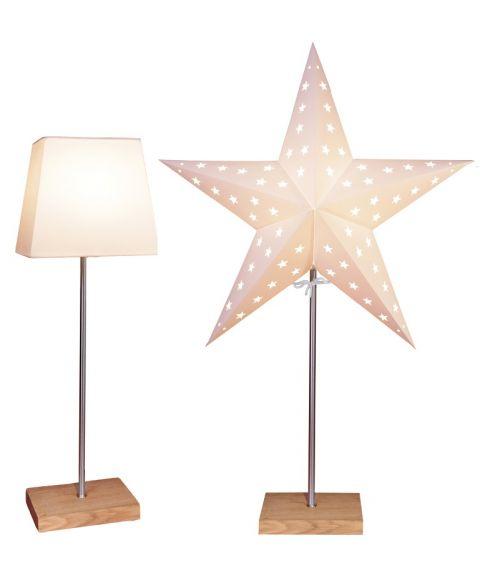 Leo papirstjerne på fot + skjerm, Eik / Hvit