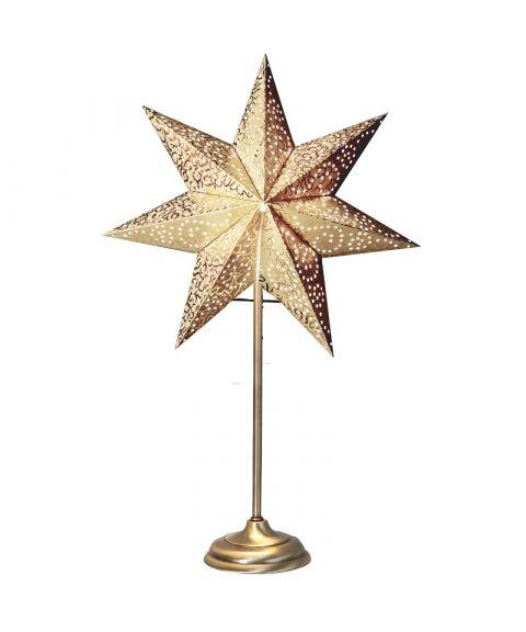 Antique papirstjerne på fot, høyde 55 cm, Gull
